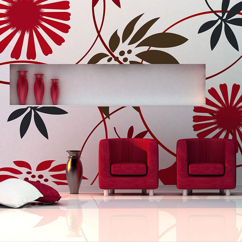 Red and brown floral wall banner with red chairs